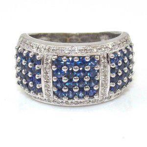 LeVian 14K White Gold Sapphire Diamond Ring 7.5